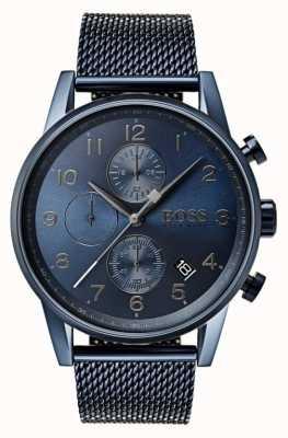 Hugo Boss 男士导航蓝色计时网眼金属手表 1513538