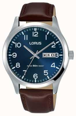Lorus 男士都市连衣裙经典棕色真皮表带 RXN49DX9