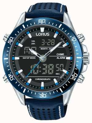 Lorus 男士运动模拟/数字蓝色计时码表 RW643AX9