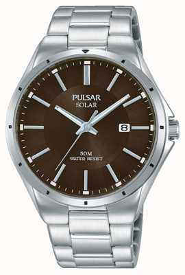 Pulsar 男士不锈钢表链棕色表盘 PX3137X1