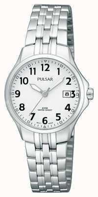 Pulsar 女人不锈钢手镯简洁的白色表盘 PH7221X1