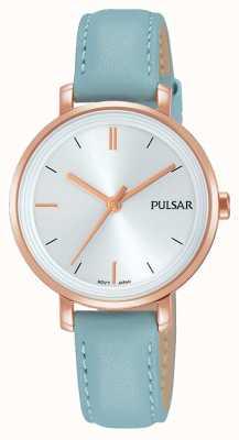 Pulsar 女人淡蓝色真皮表带银色表盘 PH8344X1