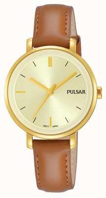 Pulsar 女士棕褐色真皮表带香槟色表盘 PH8364X1