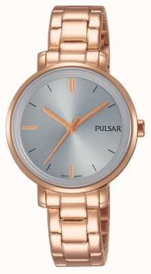 Pulsar 女人玫瑰金不锈钢手链灰色表盘 PH8362X1