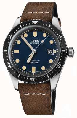 Oris 潜水员六十五自动棕色真皮表带蓝色表盘 01 733 7720 4055-07 5 21 02