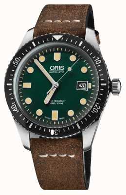 Oris 潜水员六十五自动棕色真皮表带绿色表盘 01 733 7720 4057-07 5 21 02