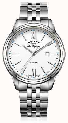 Rotary 男士不锈钢表链白色表盘 GB90194/01
