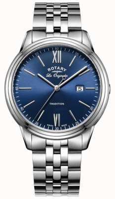 Rotary 男士不锈钢表链蓝色表盘 GB90194/05