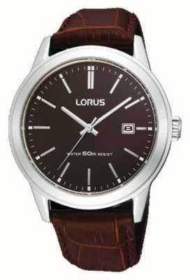Lorus 男士棕色皮革表带手表38m RH925BX9