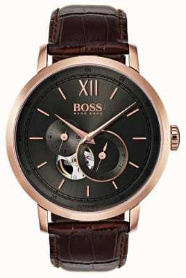Boss 男士签名自动棕色皮革手表 1513506