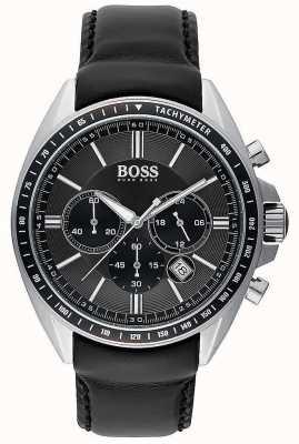 Hugo Boss 男士司机运动黑色皮革计时码表 1513085
