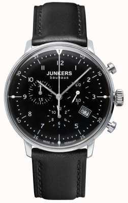 Junkers 男士bauhaus计时码表黑色皮革表带 6086-2
