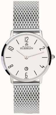 Michel Herbelin 女装城市不锈钢网带白色表盘 16915/21B
