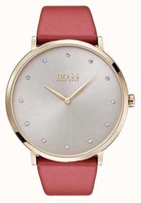 Hugo Boss 女人jillian金色调镀金棕色皮革 1502411