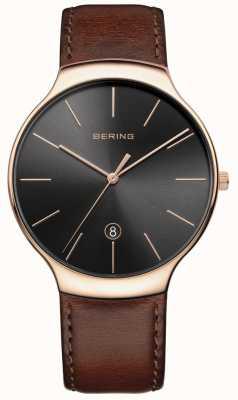 Bering 男士经典日期棕色皮革表带 13338-562
