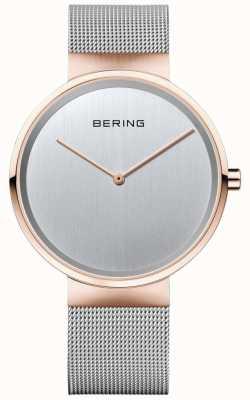 Bering 中性经典银色米兰男士表带玫瑰金表壳 14539-060