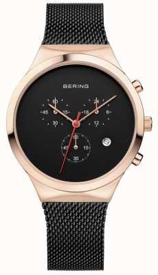 Bering 男士经典黑色计时码表黑色米兰男士表带 14736-166
