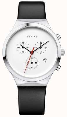 Bering 男士经典白色计时码表黑色皮革表带 14736-404
