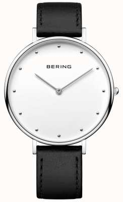 Bering 男女皆宜的经典黑色皮革表带手表 14839-404
