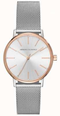 Armani Exchange 女人不锈钢网眼手链礼服手表 AX5537