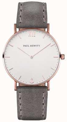 Paul Hewitt 中性水手灰色皮革表带 PH-SA-R-ST-W-13M