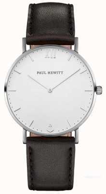 Paul Hewitt 中性水手黑色皮革表带 PH-SA-S-ST-W-2M