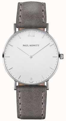 Paul Hewitt 中性水手灰色皮革表带 PH-SA-S-ST-W-13M