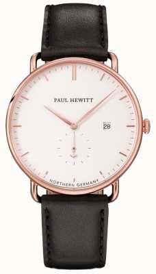 Paul Hewitt 中性宏伟的大西洋黑色皮革表带 PH-TGA-R-W-2M