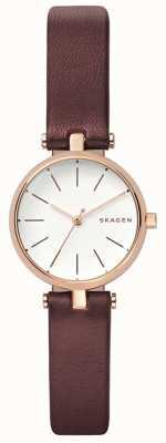 Skagen 女装signatur棕色皮革petit手表 SKW2641