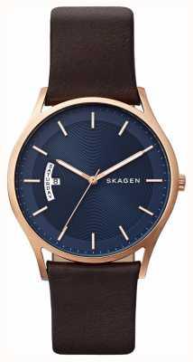 Skagen 男士棕色真皮蓝色表盘细节腕表 SKW6395
