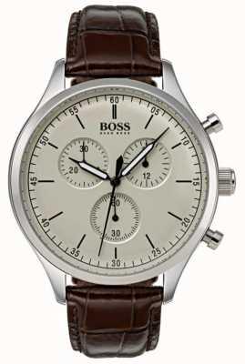 Hugo Boss 男士伴侣计时码表棕色皮革表带 1513544
