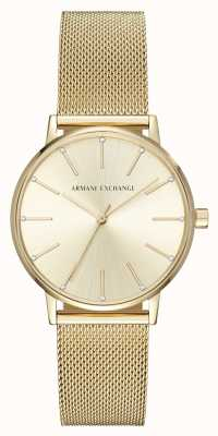 Armani Exchange 女人镀金网眼手链手表 AX5536