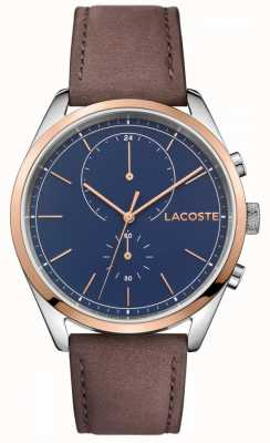Lacoste 男士圣迭戈皮革表带蓝色表盘 2010917