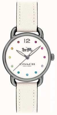 Coach 女人delancey手表白色皮革表带 14502915