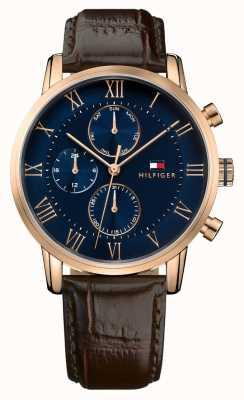 Tommy Hilfiger 凯恩计时码表蓝色表盘棕色皮革表带 1791399