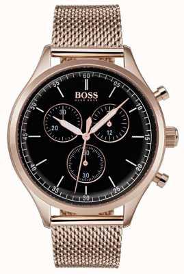 Hugo Boss 男士伴侣计时码表玫瑰金色调网眼手链 1513548