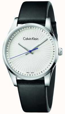 Calvin Klein 男女通用坚定的手表黑色皮革 K8S211C6