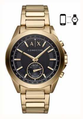 Armani Exchange 男士混合型smartwatch金色手镯黑色表盘 AXT1008