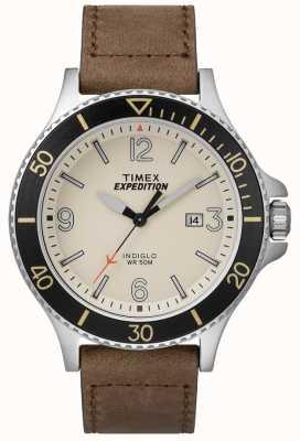 Timex 探险护林员皮革表带自然表盘 TW4B10600D7PF