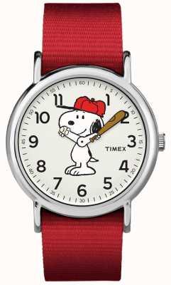 Timex 红色表带史努比手表 TW2R414006B