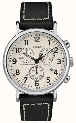 Timex 男士weekender计时码表黑色皮革表带 TW2R42800D7PF