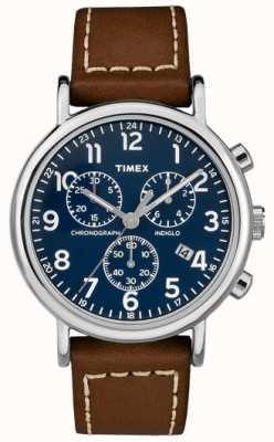 Timex 男士weekender计时码表棕色皮革表带 TW2R42600D7