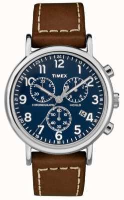 Timex 男士周末计时码表棕色皮表带 TW2R42600D7