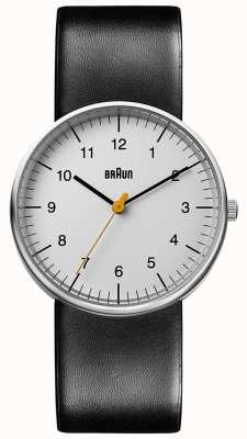 Braun 男女皆宜的黑色皮革手表极简主义 BN0021BKG