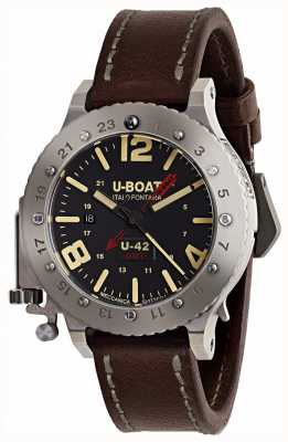 U-Boat 限量版u-42 gmt 50mm棕色皮表带 8095
