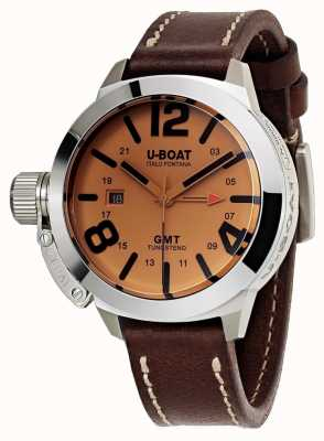 U-Boat Classico 45 gmt皮革手表自动棕色皮革 8051