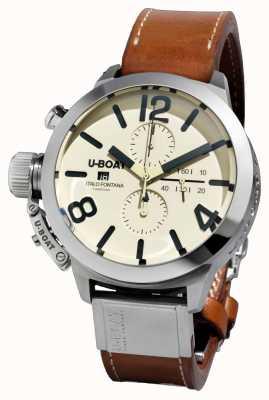 U-Boat Classico 50钨钢cas2 /自动棕色皮革表带 7433/A