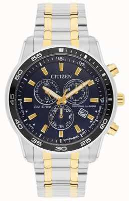 Citizen 男装生态驱动器|不锈钢和金色ip黑色表盘 BL5514-53L