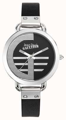 Jean Paul Gaultier 女装指数g黑色真皮表带黑色表盘 JP8504315