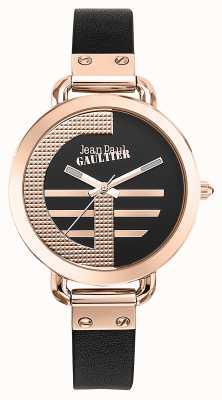 Jean Paul Gaultier 女装指数g棕色真皮表带黑色表盘 JP8504325